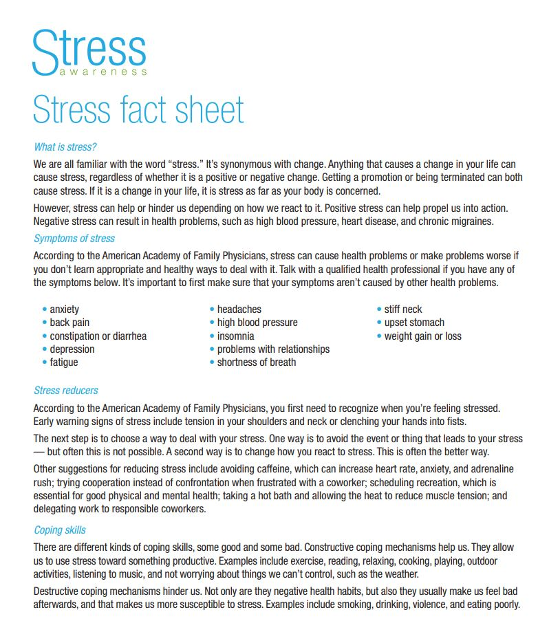 stress fact sheet
