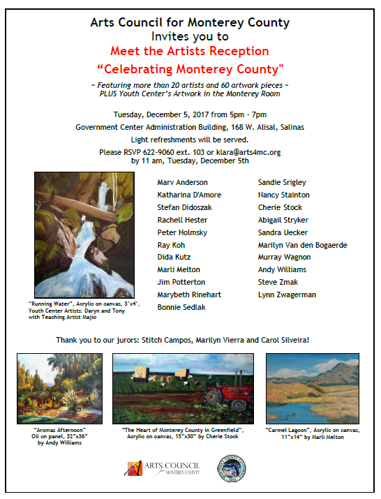 Celebrating Monterey County Public Art Exhibit kick off 12/5
