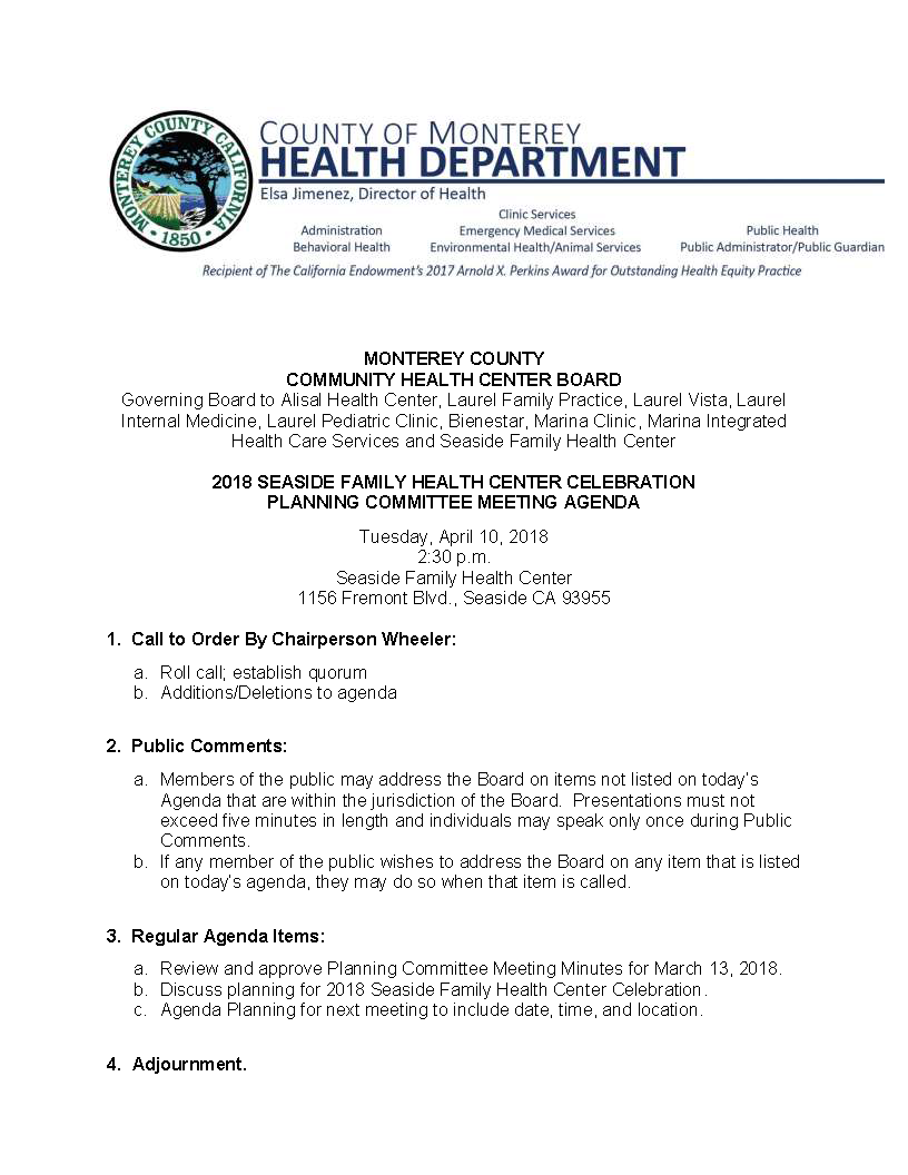 Monterey County, CA : Calendar : 2018 Seaside Family Health