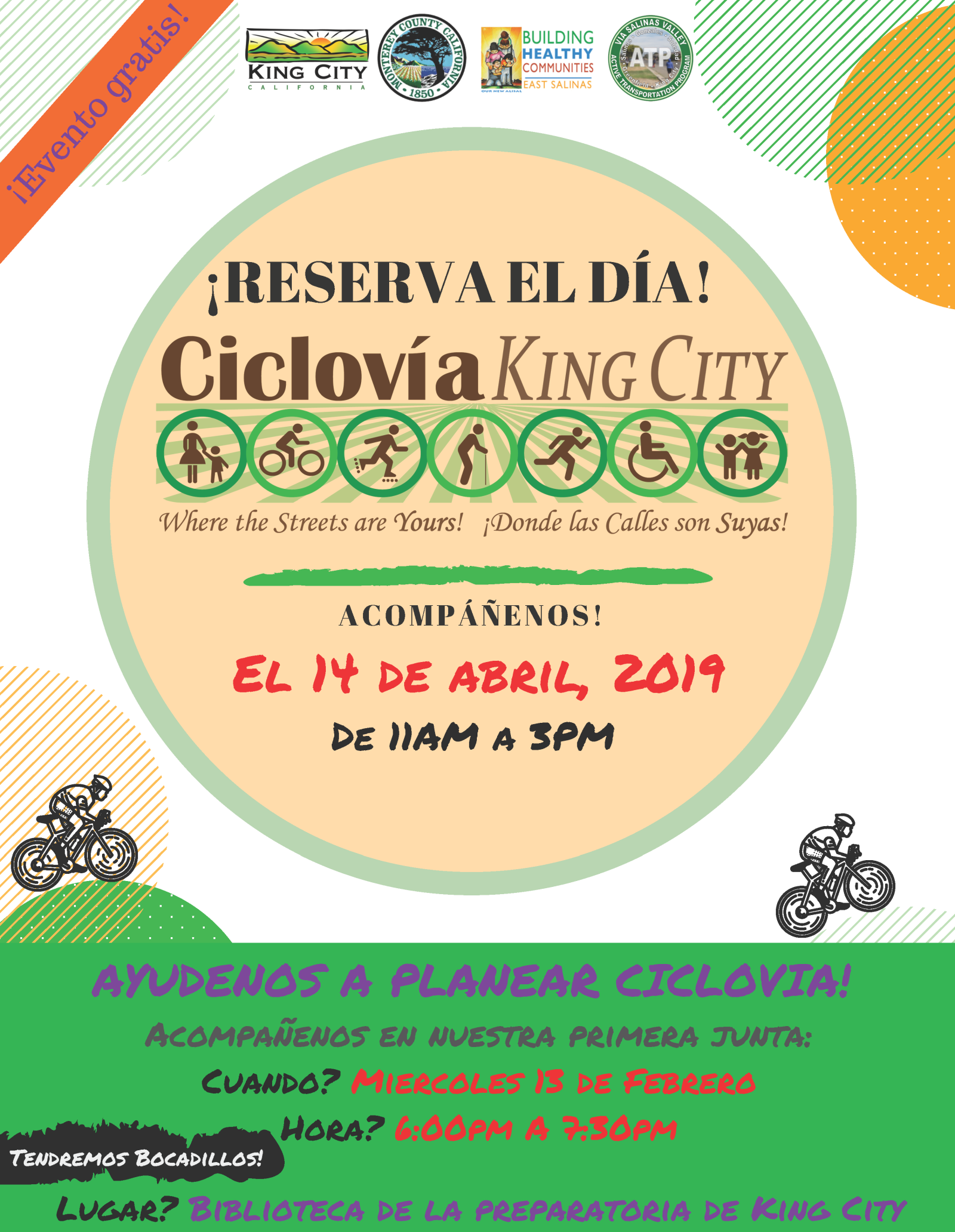 Ciclovia Community Meeting Flyer (Spanish)