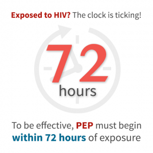 The clock is ticking - For PEP to be effective you have 72 hours to start medication