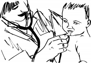Sketch of doctor and baby