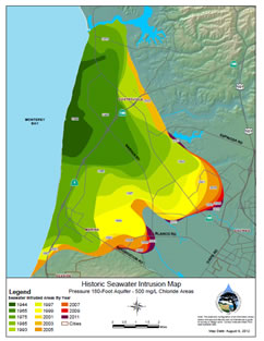 Monterey County CA Seawater Intrusion Maps - Saltwater intrusion map us