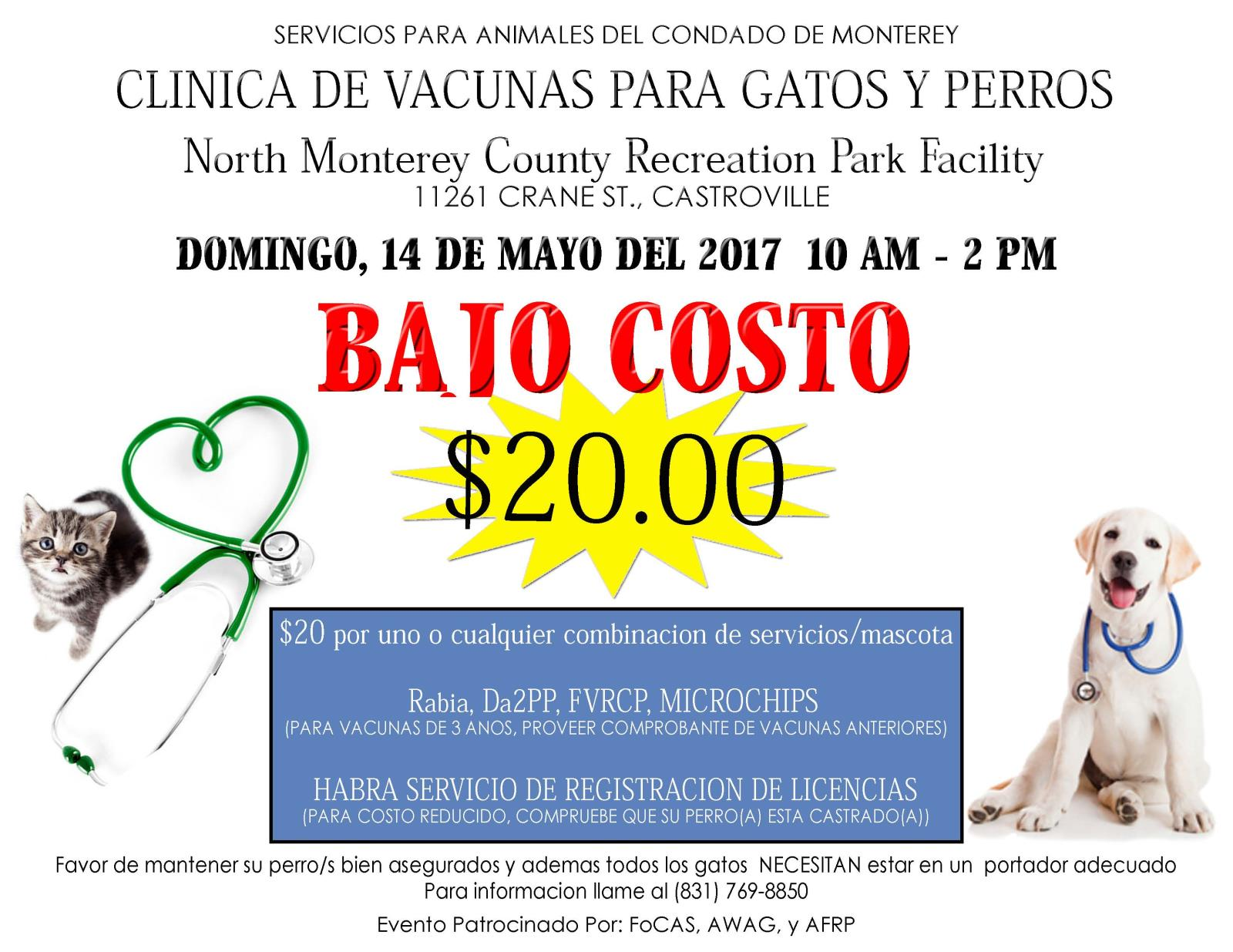 Low Cost - Dog & Cat Vaccination Clinic | Calendar