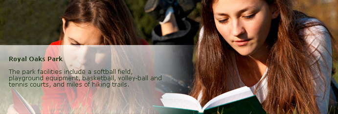 royal oaks page banner of young women reading