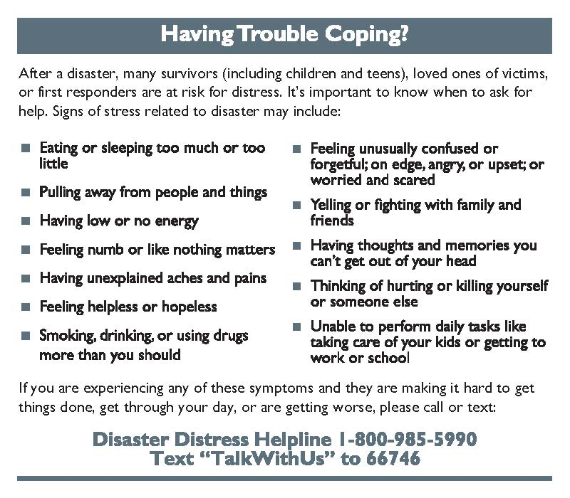 Having trouble coping after a disaster?