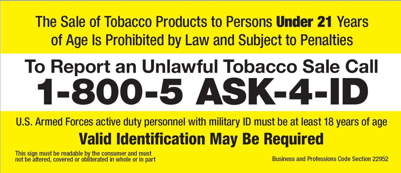 Tobacco under 21 sign