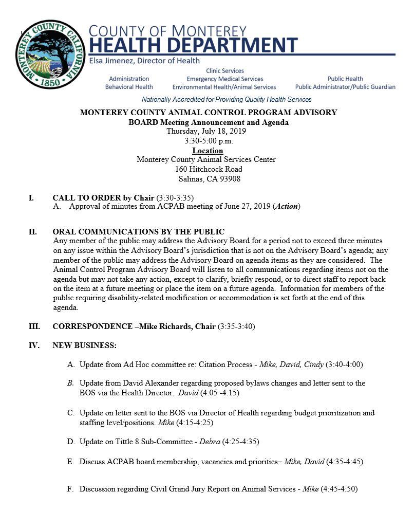 Monterey County Animal Control Program Advisory Board Meeting