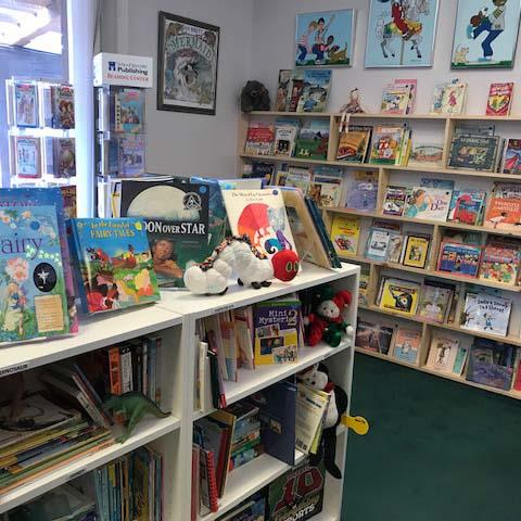 Photo of the Friends of the Marina Library bookstore inside the kidsroom