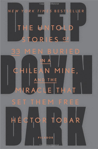 Book cover titled Deep Down Dark The Untold Stories of 33 Men Buried in a Chilean Mine, and the Miracle That Set Them Free by Hector Tobar