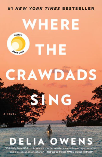Book cover titled Where the Crawdads Sing by Delia Owens