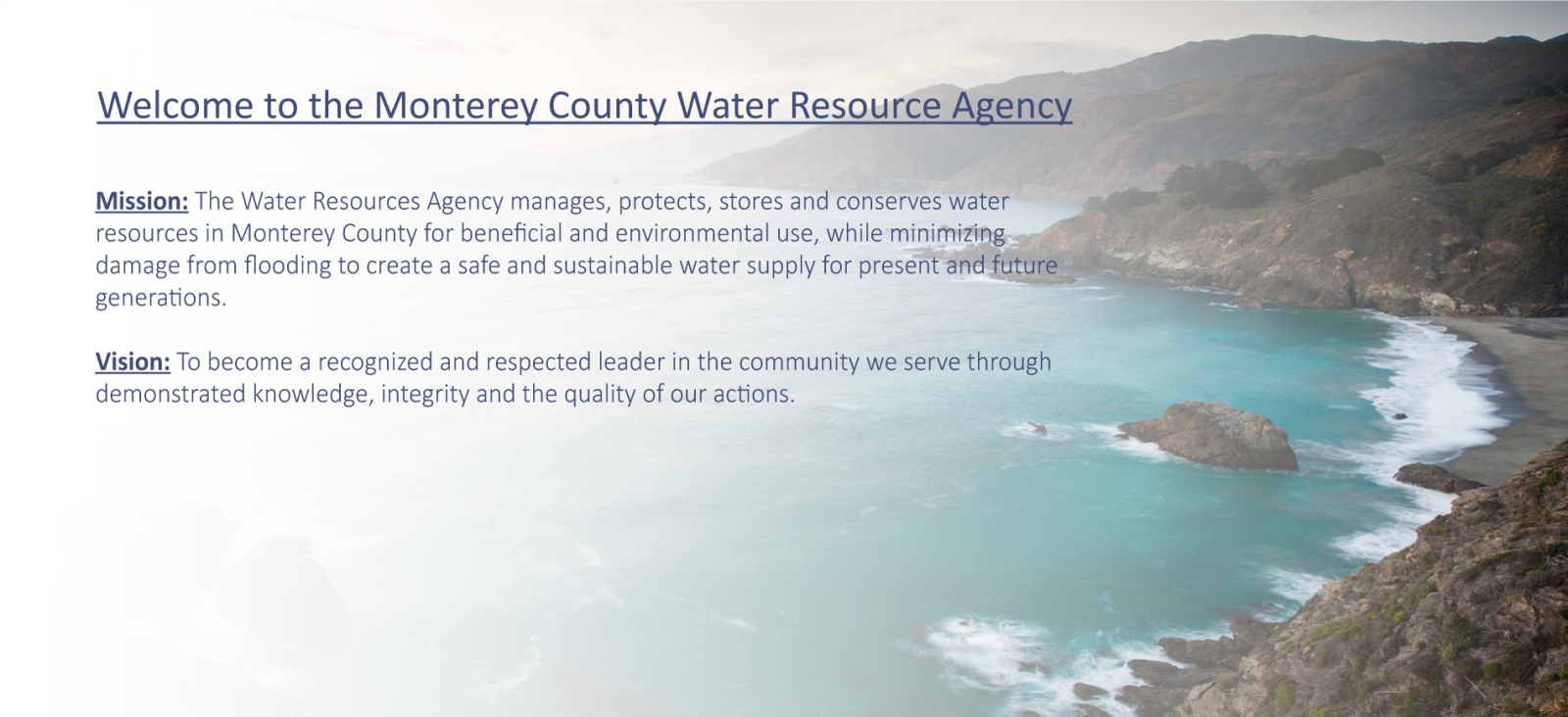 Welcome to the Water Resources Agency of Monterey County