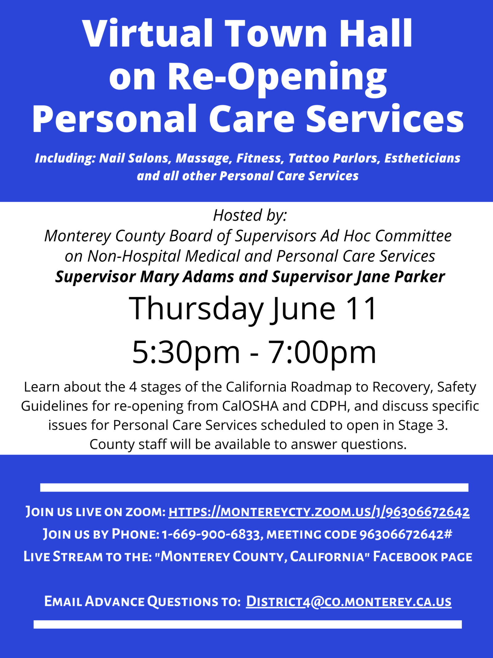 June 11 Virtual Town Hall Personal Services