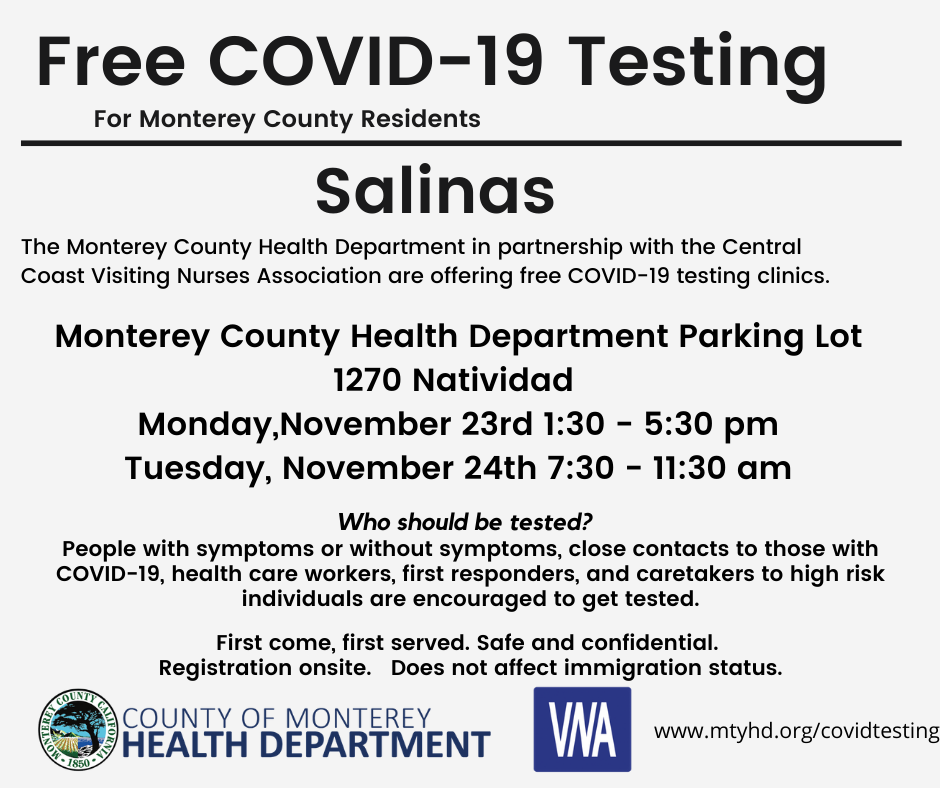 No Appointment Required Free Community Covid 19 Testing Salinas 1270 Natividad Calendar Meeting List Monterey County Ca