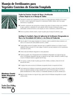 image of document Fertilizer Management in Coastal Cool Season Vegetables in Spanish