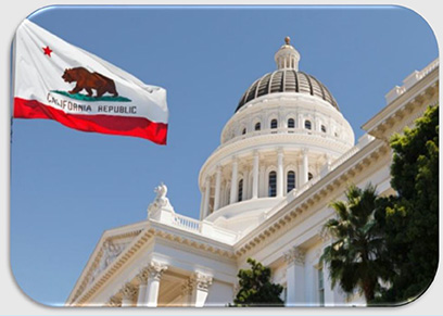 California State Capitol Building and Flag