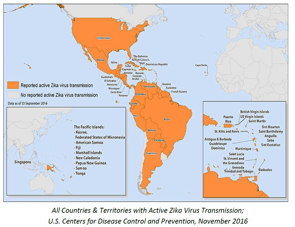 Countries with Zika transmission Nov 2016 CDC